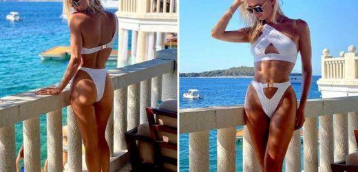 Strictly Come Dancing's Nadiya Bychkova shows off her incredible figure in a white thong bikini