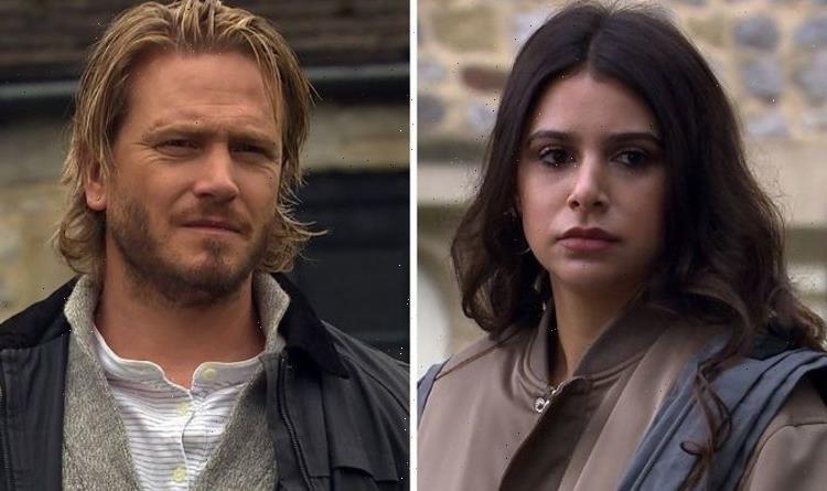 Emmerdales Meena Jutla holds David Metcalfe hostage after catching him kissing Victoria?