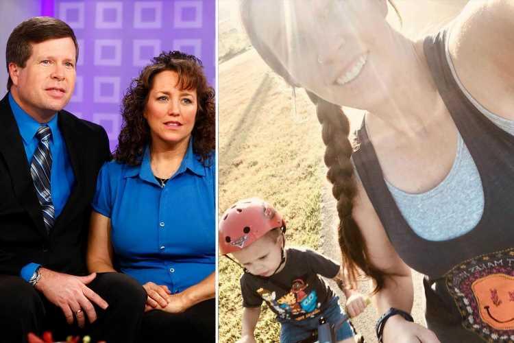 Jill Duggar breaks family's strict dress code by showing off sports bra as she thanks husband Derick Dillard for support