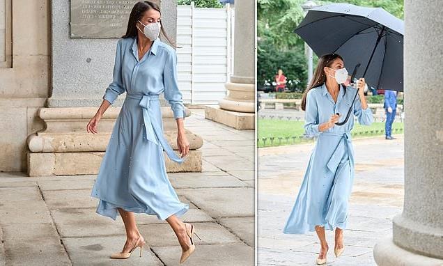 Queen Letizia of Spain is recycles pale blue shirt dress