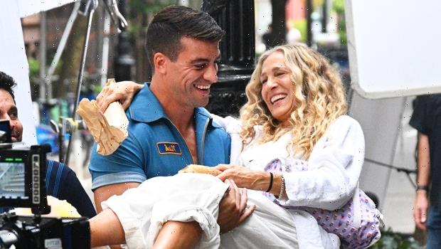Sarah Jessica Parker Gets Lifted By Muscular Mystery Man While Filming Sex & The City Revival