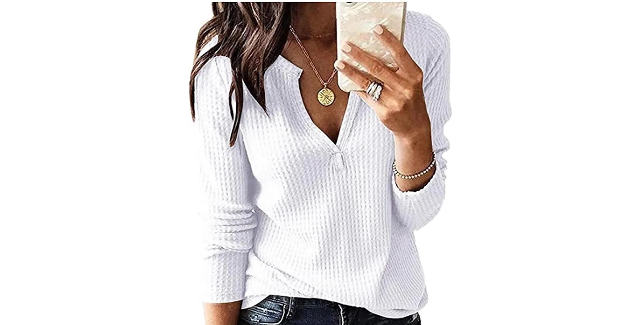 Simple Style! You Can Wear This Waffle Knit Top on Repeat This Fall