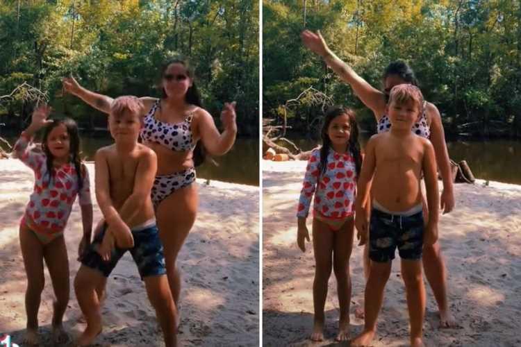 Teen Mom Jenelle Evans dances in polka dot bikini with kids Kaiser, 7, and Ensley, 4, after slamming body-shaming trolls
