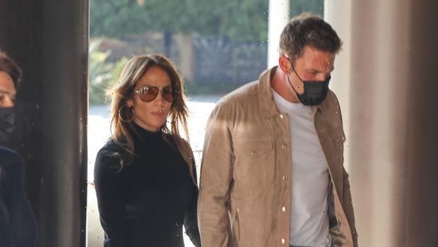 Jennifer Lopez Rocks Fitted Black Turtleneck & Slit Skirt As She Holds Hands With Ben Affleck